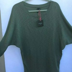 Cynthia Rowley Green Dolman Tunic Shirt 3/4 Sleeve